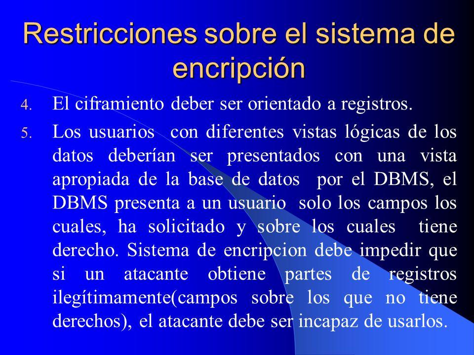 Restricciones sobre el sistema de encripción 4. El ciframiento deber ser orientado a registros. 5. Los usuarios con diferentes vistas lógicas de los d