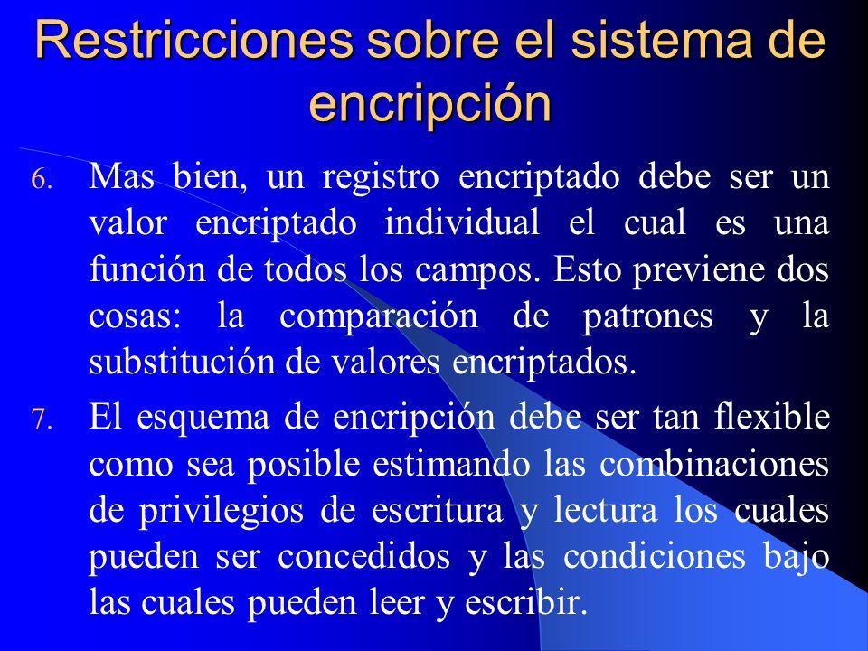 Restricciones sobre el sistema de encripción 6. Mas bien, un registro encriptado debe ser un valor encriptado individual el cual es una función de tod