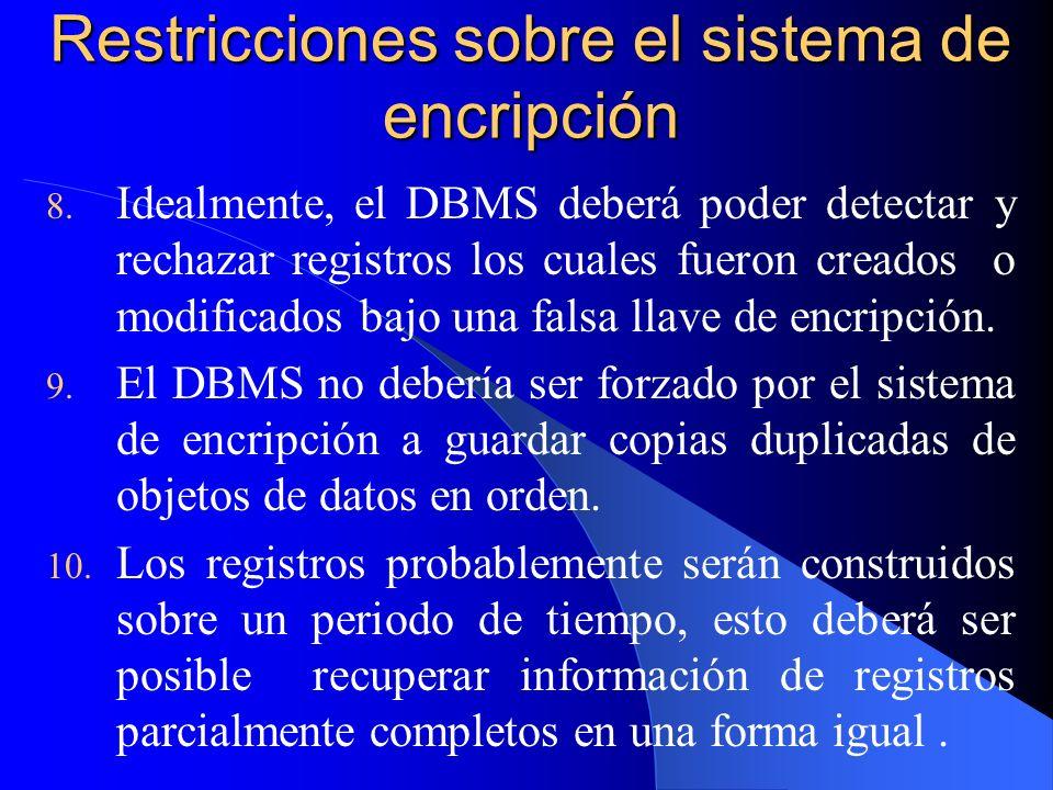 Restricciones sobre el sistema de encripción 8. Idealmente, el DBMS deberá poder detectar y rechazar registros los cuales fueron creados o modificados