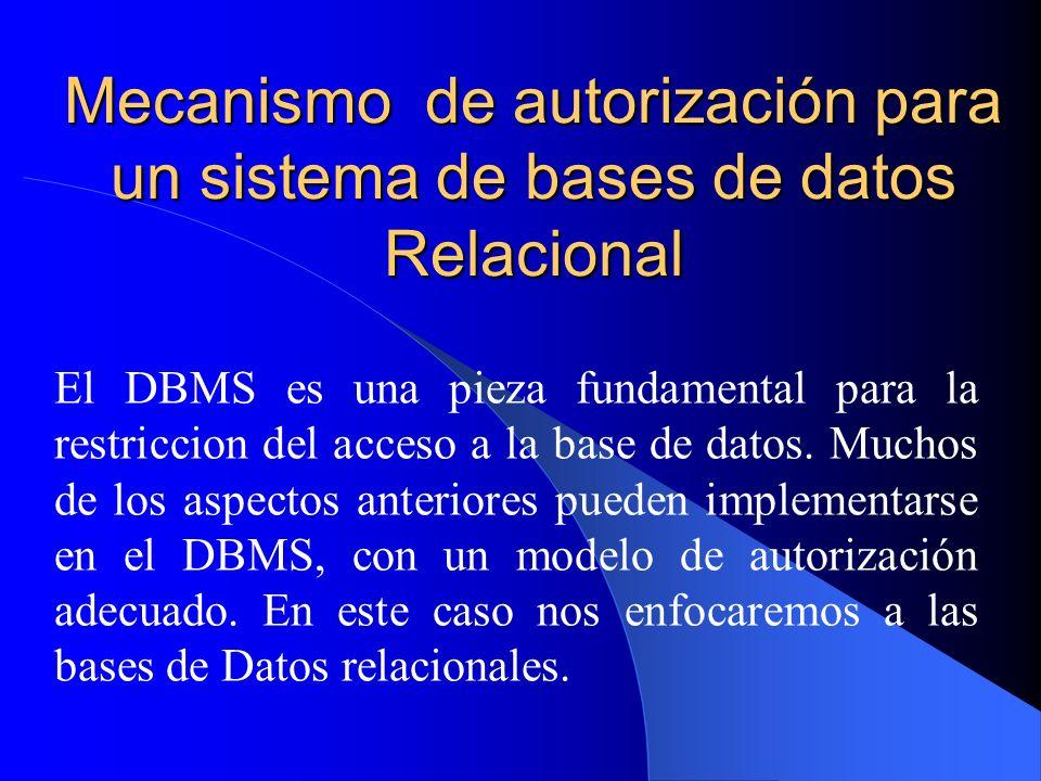 Mecanismo de autorización para un sistema de bases de datos Relacional El DBMS es una pieza fundamental para la restriccion del acceso a la base de da