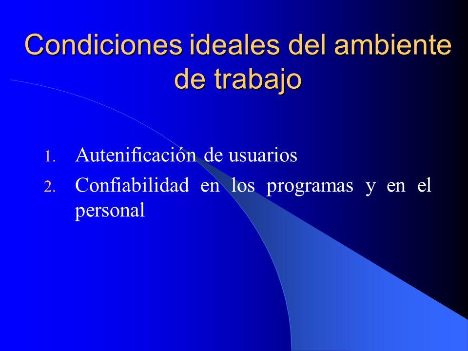 Condiciones ideales del ambiente de trabajo 1. Autenificación de usuarios 2. Confiabilidad en los programas y en el personal