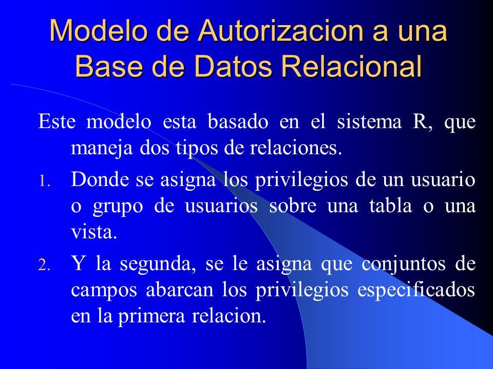 Modelo de Autorizacion a una Base de Datos Relacional Este modelo esta basado en el sistema R, que maneja dos tipos de relaciones. 1. Donde se asigna