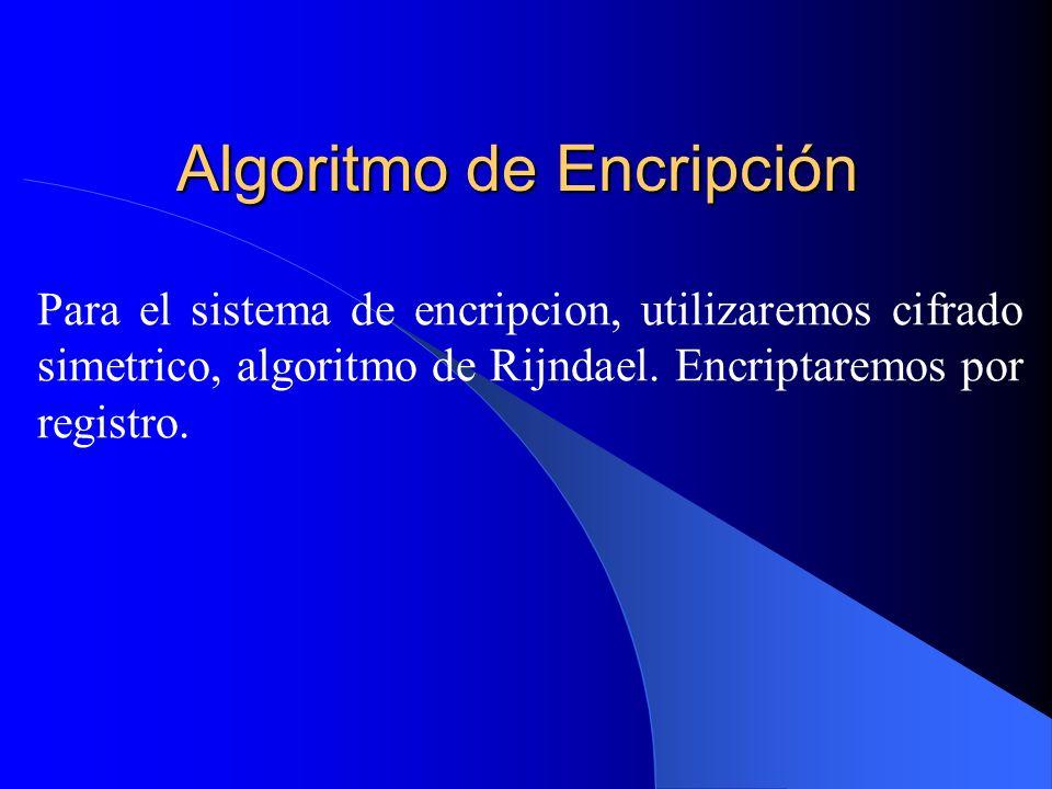 Algoritmo de Encripción Para el sistema de encripcion, utilizaremos cifrado simetrico, algoritmo de Rijndael. Encriptaremos por registro.