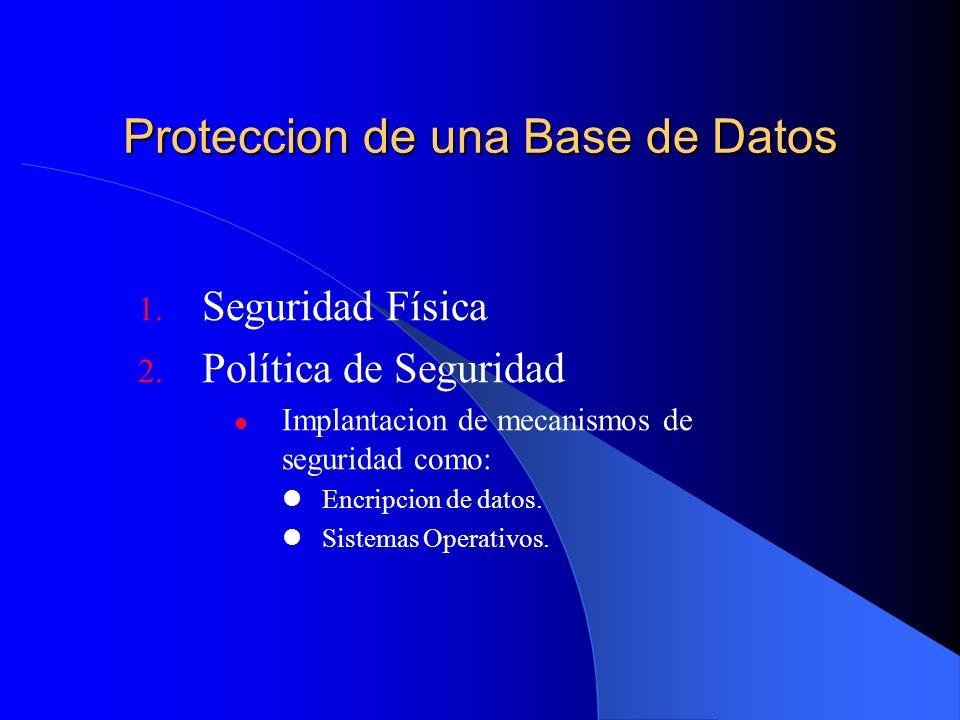 Proteccion de una Base de Datos 1. Seguridad Física 2. Política de Seguridad Implantacion de mecanismos de seguridad como: Encripcion de datos. Sistem