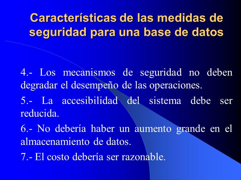 Características de las medidas de seguridad para una base de datos 4.- Los mecanismos de seguridad no deben degradar el desempeño de las operaciones.