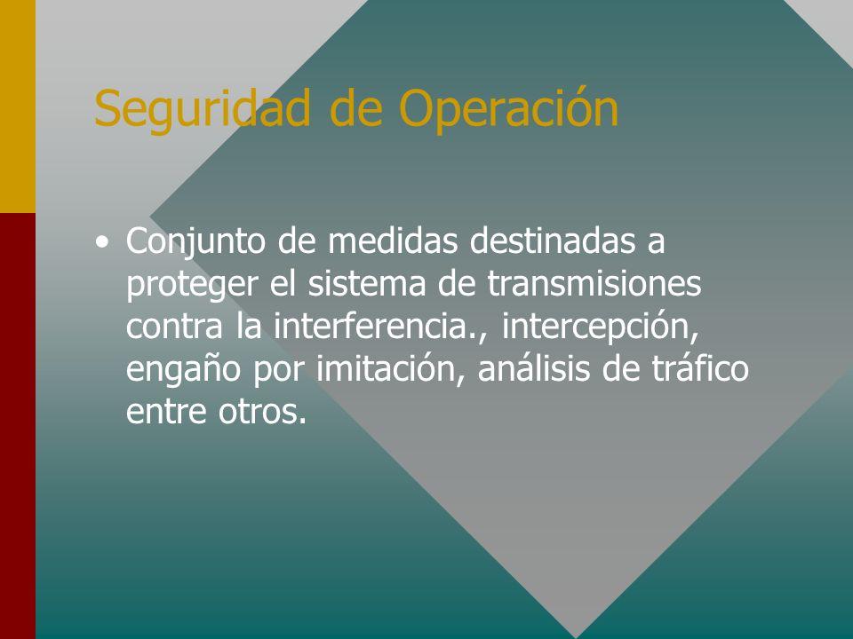 Seguridad de Operación Conjunto de medidas destinadas a proteger el sistema de transmisiones contra la interferencia., intercepción, engaño por imitac