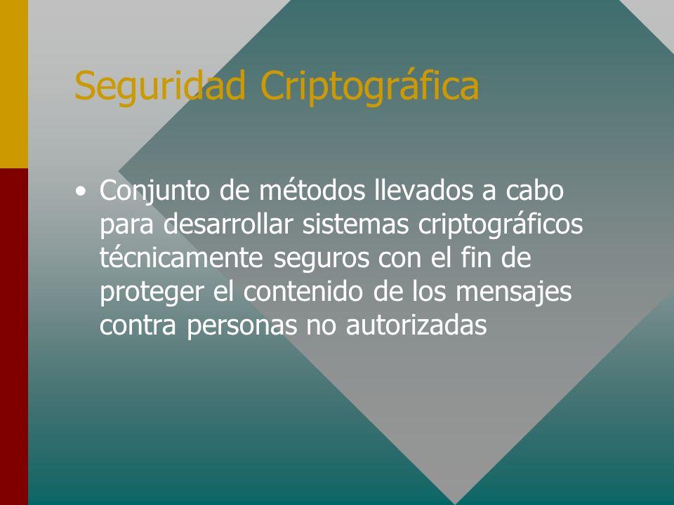 Seguridad Criptográfica Conjunto de métodos llevados a cabo para desarrollar sistemas criptográficos técnicamente seguros con el fin de proteger el co