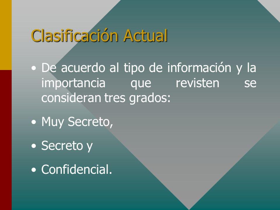 Clasificación Actual De acuerdo al tipo de información y la importancia que revisten se consideran tres grados: Muy Secreto, Secreto y Confidencial.