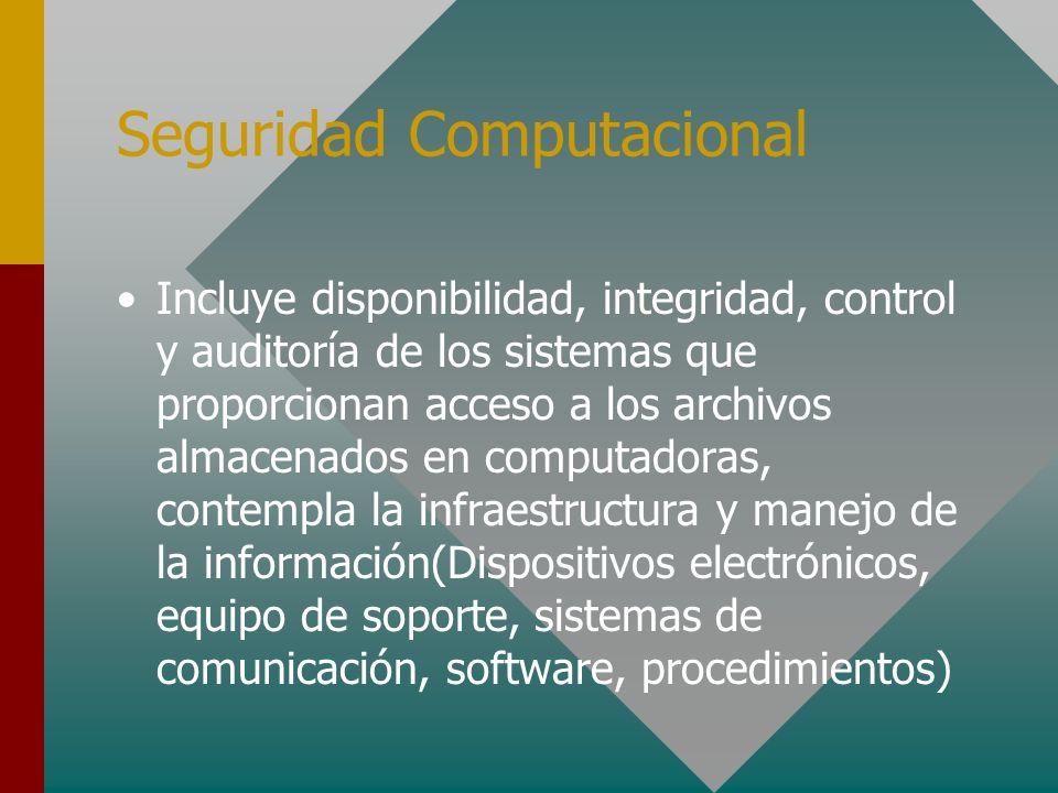 Seguridad Computacional Incluye disponibilidad, integridad, control y auditoría de los sistemas que proporcionan acceso a los archivos almacenados en