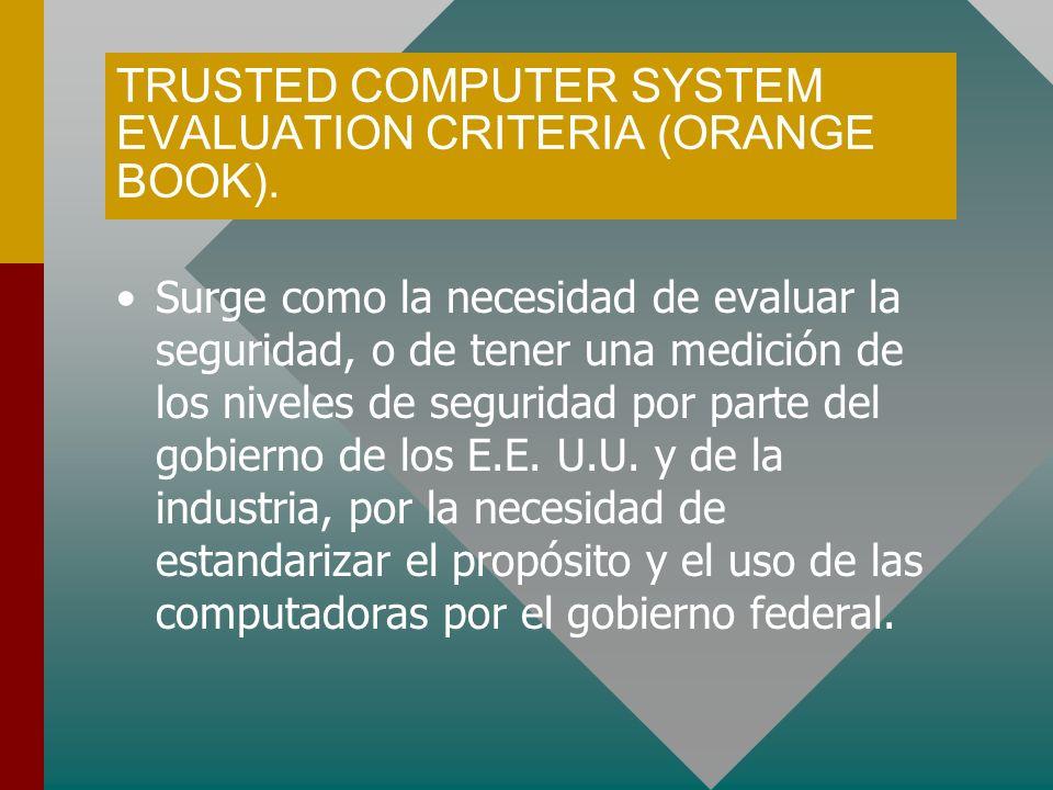 TRUSTED COMPUTER SYSTEM EVALUATION CRITERIA (ORANGE BOOK). Surge como la necesidad de evaluar la seguridad, o de tener una medición de los niveles de