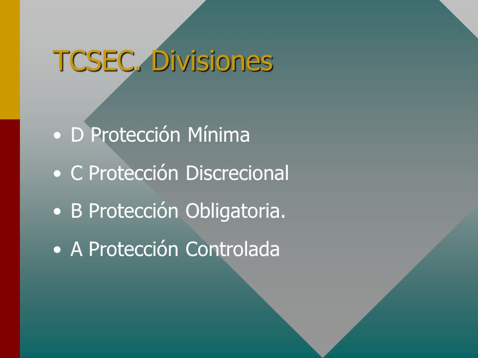 TCSEC. Divisiones D Protección Mínima C Protección Discrecional B Protección Obligatoria. A Protección Controlada