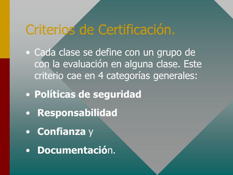 Criterios de Certificación. Cada clase se define con un grupo de con la evaluación en alguna clase. Este criterio cae en 4 categorías generales: Polít