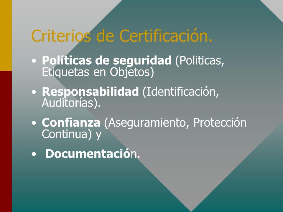 Criterios de Certificación. Políticas de seguridad (Politicas, Etiquetas en Objetos) Responsabilidad (Identificación, Auditorías). Confianza (Aseguram
