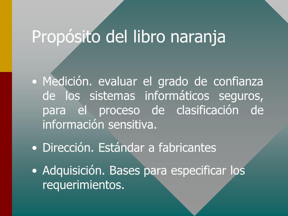 Propósito del libro naranja Medición. evaluar el grado de confianza de los sistemas informáticos seguros, para el proceso de clasificación de informac