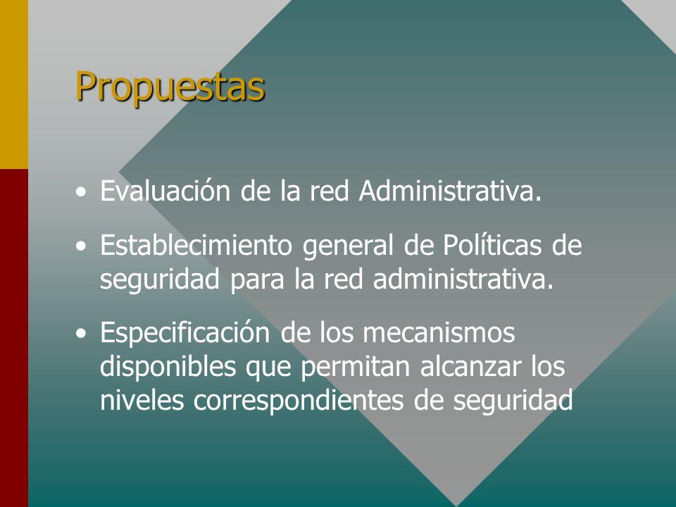 Propuestas Evaluación de la red Administrativa. Establecimiento general de Políticas de seguridad para la red administrativa. Especificación de los me