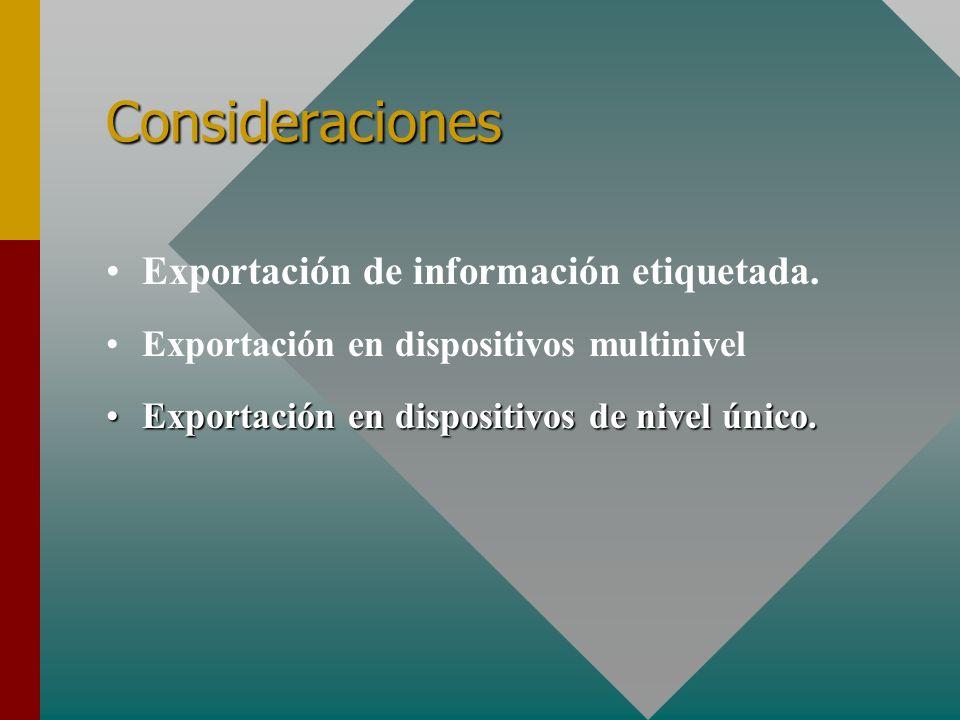 Consideraciones Exportación de información etiquetada. Exportación en dispositivos multinivel Exportación en dispositivos de nivel único.Exportación e