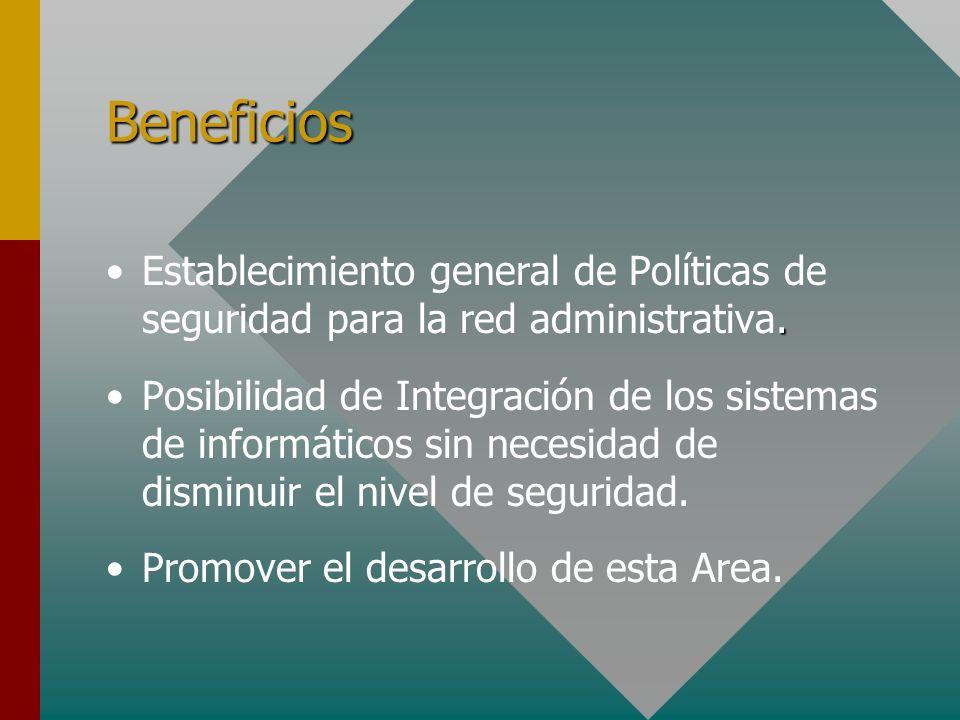 Beneficios.Establecimiento general de Políticas de seguridad para la red administrativa. Posibilidad de Integración de los sistemas de informáticos si