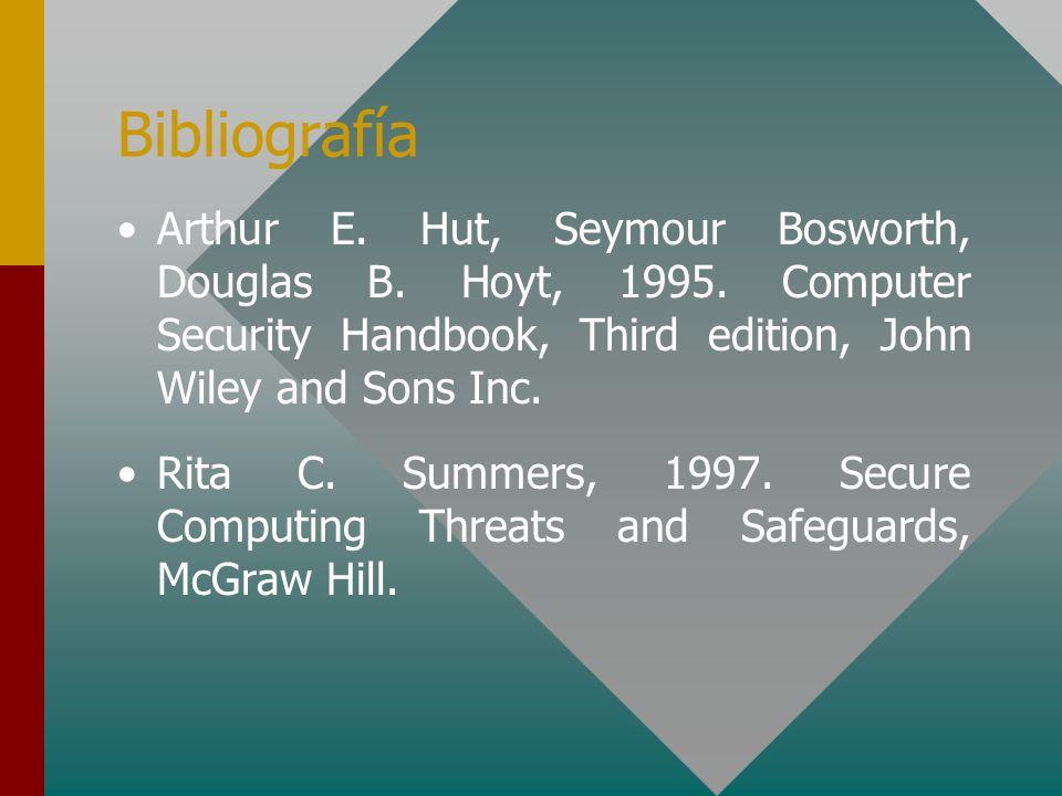 Bibliografía Arthur E. Hut, Seymour Bosworth, Douglas B. Hoyt, 1995. Computer Security Handbook, Third edition, John Wiley and Sons Inc. Rita C. Summe