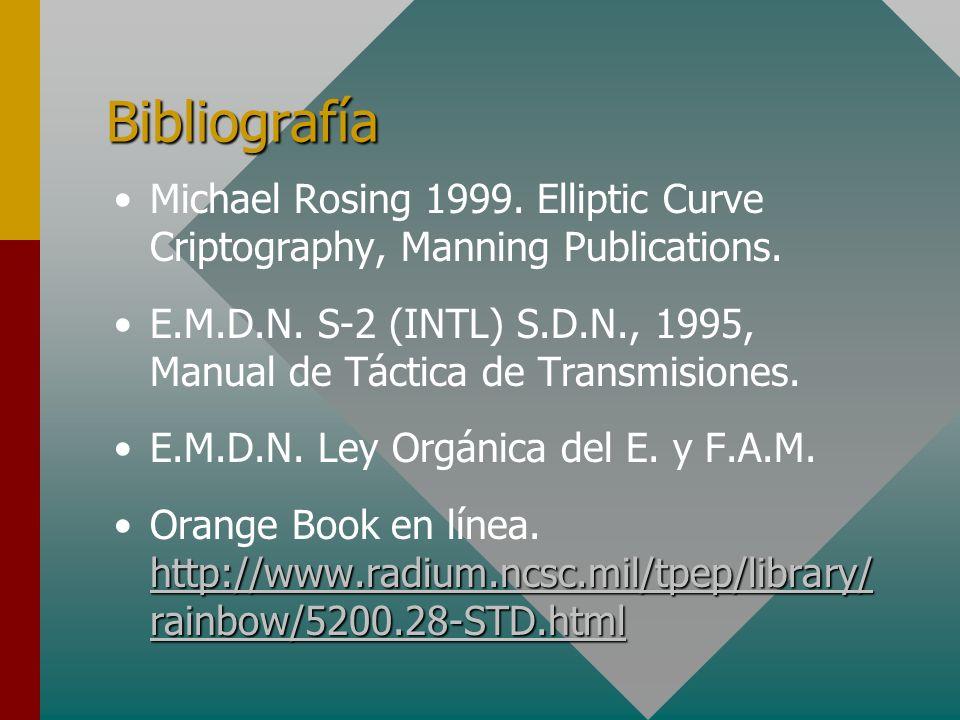 Bibliografía Michael Rosing 1999. Elliptic Curve Criptography, Manning Publications. E.M.D.N. S-2 (INTL) S.D.N., 1995, Manual de Táctica de Transmisio