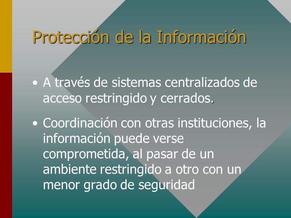Protección de la Información.A través de sistemas centralizados de acceso restringido y cerrados. Coordinación con otras instituciones, la información