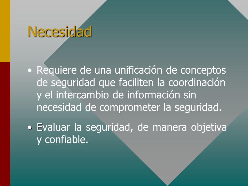 Necesidad Requiere de una unificación de conceptos de seguridad que faciliten la coordinación y el intercambio de información sin necesidad de comprom