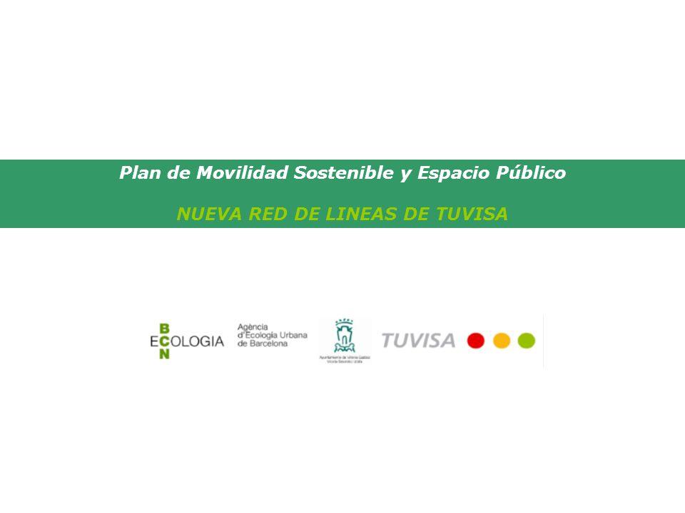 Plan de Movilidad Sostenible y Espacio Público NUEVA RED DE LINEAS DE TUVISA MENOS LINEAS PARA LLEGAR A MAS SITIOS 7 líneas 142 kilómetros 256 paradas Cobertura del 97%