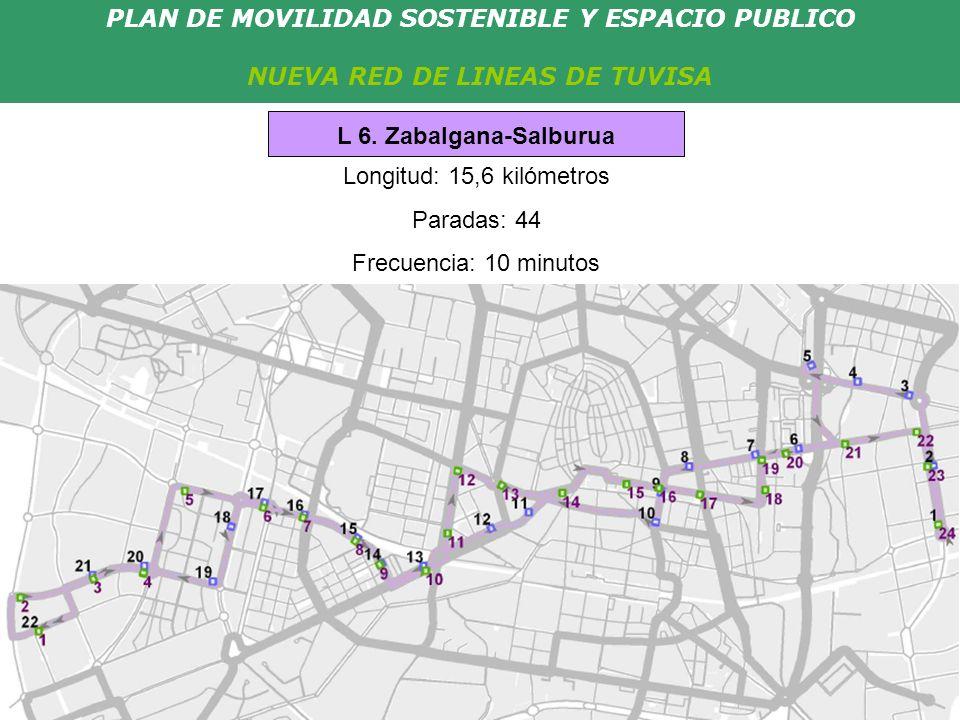 PLAN DE MOVILIDAD SOSTENIBLE Y ESPACIO PUBLICO NUEVA RED DE LINEAS DE TUVISA Longitud: 15,6 kilómetros Paradas: 44 Frecuencia: 10 minutos L 6. Zabalga