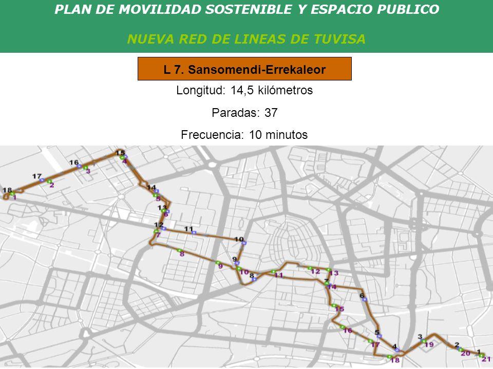 PLAN DE MOVILIDAD SOSTENIBLE Y ESPACIO PUBLICO NUEVA RED DE LINEAS DE TUVISA Longitud: 14,5 kilómetros Paradas: 37 Frecuencia: 10 minutos L 7. Sansome