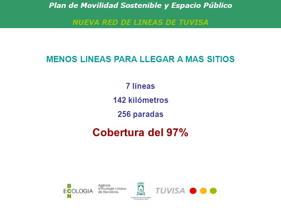 Plan de Movilidad Sostenible y Espacio Público NUEVA RED DE LINEAS DE TUVISA UN TRANSPORTE PUBLICO EFICAZ Y DE CALIDAD Un servicio más rápido y cómodo Una red más sencilla y eficaz Una notable mejora en las frecuencias Red de líneas de TUVISAAhoraNueva red Autobuses4663 Frecuencias20-15 min.10-15 min.