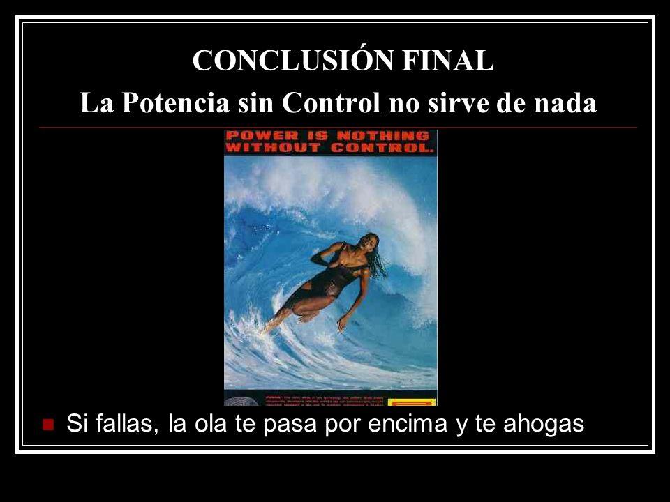 La Potencia sin Control no sirve de nada Si fallas, la ola te pasa por encima y te ahogas CONCLUSIÓN FINAL