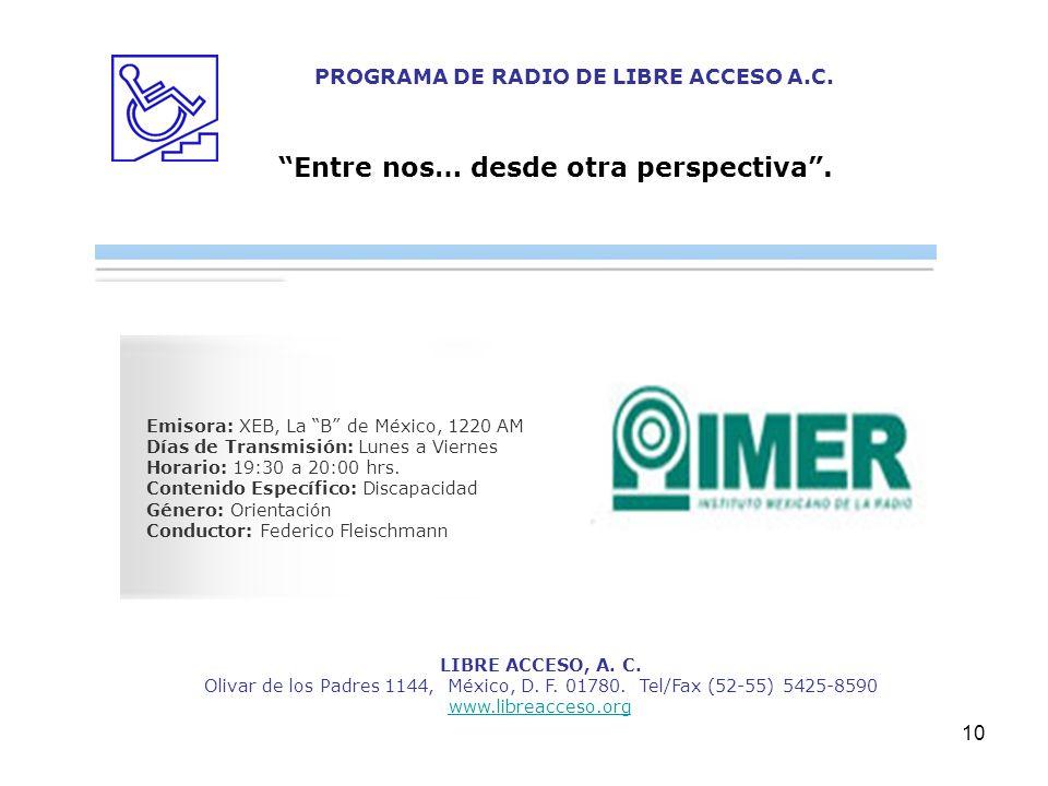10 LIBRE ACCESO, A. C. Olivar de los Padres 1144, México, D. F. 01780. Tel/Fax (52-55) 5425-8590 www.libreacceso.org PROGRAMA DE RADIO DE LIBRE ACCESO