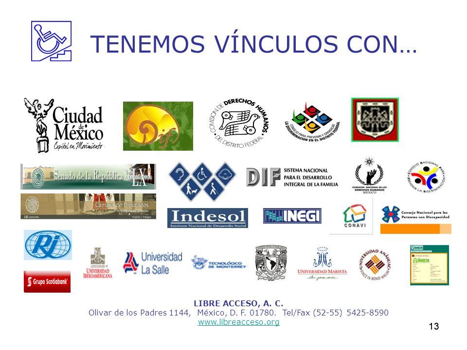 13 TENEMOS VÍNCULOS CON… LIBRE ACCESO, A. C. Olivar de los Padres 1144, México, D. F. 01780. Tel/Fax (52-55) 5425-8590 www.libreacceso.org 13
