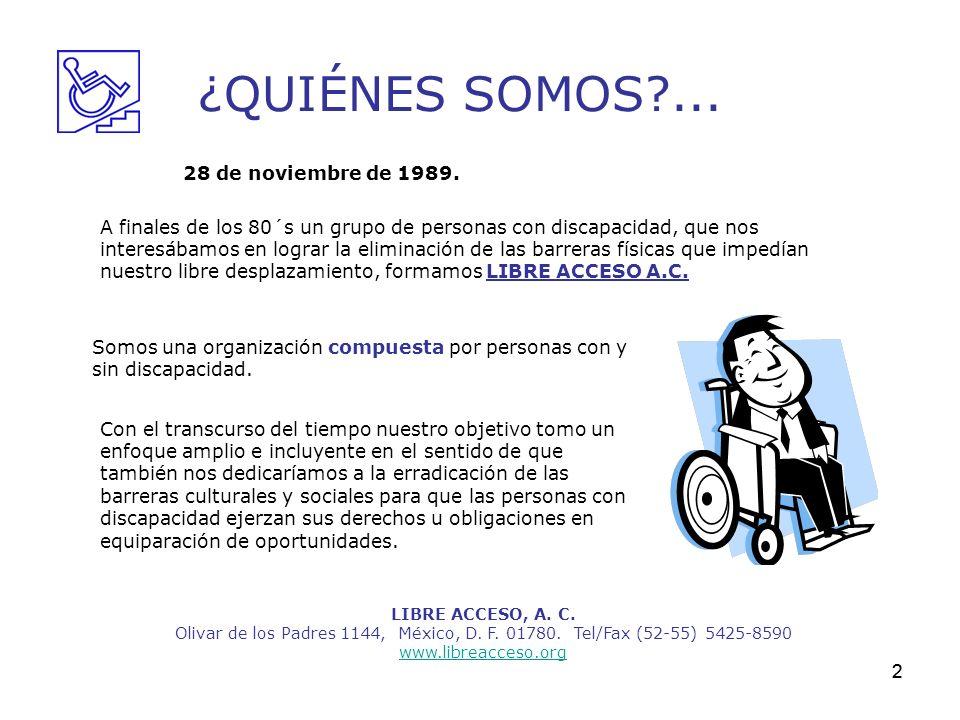 2 ¿QUIÉNES SOMOS?... LIBRE ACCESO, A. C. Olivar de los Padres 1144, México, D. F. 01780. Tel/Fax (52-55) 5425-8590 www.libreacceso.org Con el transcur