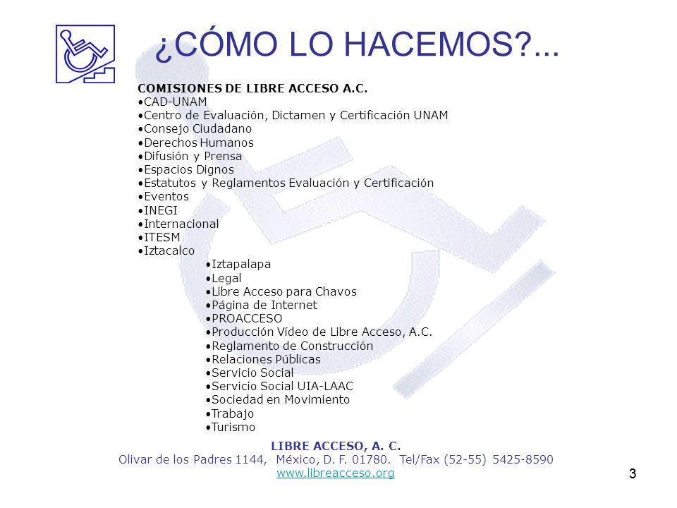 3 LIBRE ACCESO, A. C. Olivar de los Padres 1144, México, D. F. 01780. Tel/Fax (52-55) 5425-8590 www.libreacceso.org COMISIONES DE LIBRE ACCESO A.C. CA