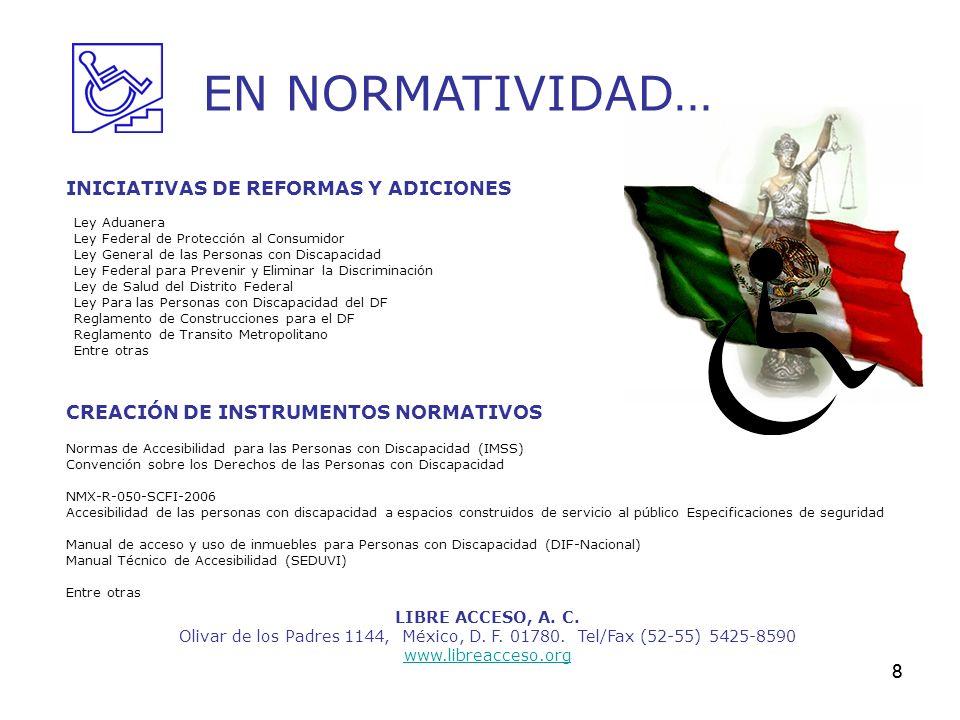 8 LIBRE ACCESO, A. C. Olivar de los Padres 1144, México, D. F. 01780. Tel/Fax (52-55) 5425-8590 www.libreacceso.org EN NORMATIVIDAD… INICIATIVAS DE RE