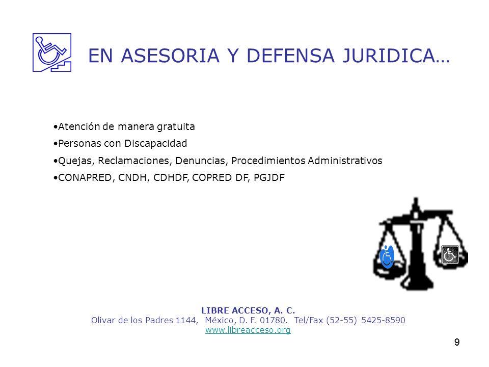 9 LIBRE ACCESO, A. C. Olivar de los Padres 1144, México, D. F. 01780. Tel/Fax (52-55) 5425-8590 www.libreacceso.org EN ASESORIA Y DEFENSA JURIDICA… At
