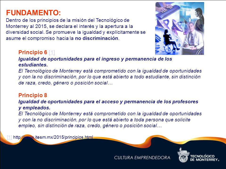 Principio 6 [1] Igualdad de oportunidades para el ingreso y permanencia de los estudiantes. El Tecnológico de Monterrey está comprometido con la igual