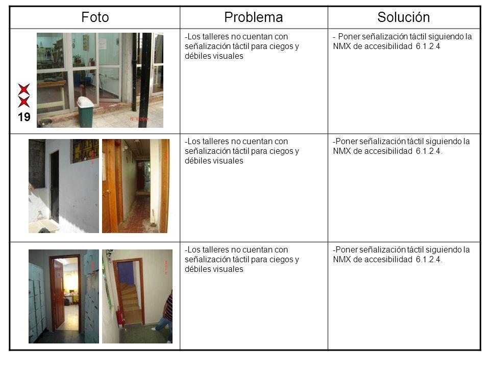 FotoProblemaSolución -Los talleres no cuentan con señalización táctil para ciegos y débiles visuales - Poner señalización táctil siguiendo la NMX de a