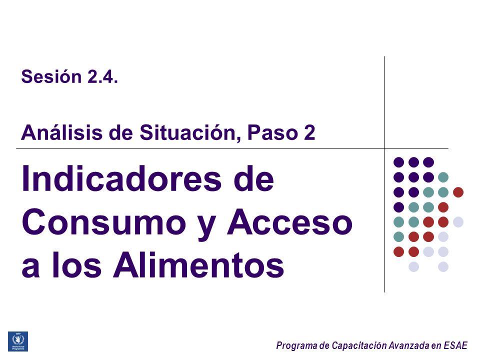 Programa de Capacitación Avanzada en ESAE Creación de los Grupos de Seguridad Alimentaria (1) Consumo de alimentos PobreLimiteBueno Acceso a los alimentos Pobre Inseguridad severa Inseguridad moderada Promedio Inseguridad severa Inseguridad moderada Seguros Bueno Inseguridad moderada Seguros