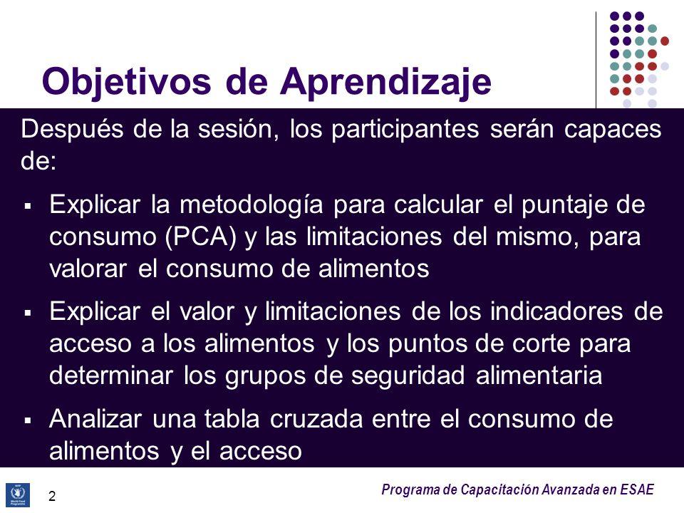 Programa de Capacitación Avanzada en ESAE Objetivos de Aprendizaje Después de la sesión, los participantes serán capaces de: Explicar la metodología p