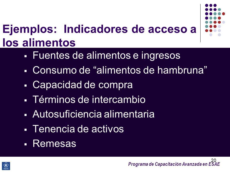 Programa de Capacitación Avanzada en ESAE 20 Ejemplos: Indicadores de acceso a los alimentos Fuentes de alimentos e ingresos Consumo de alimentos de h
