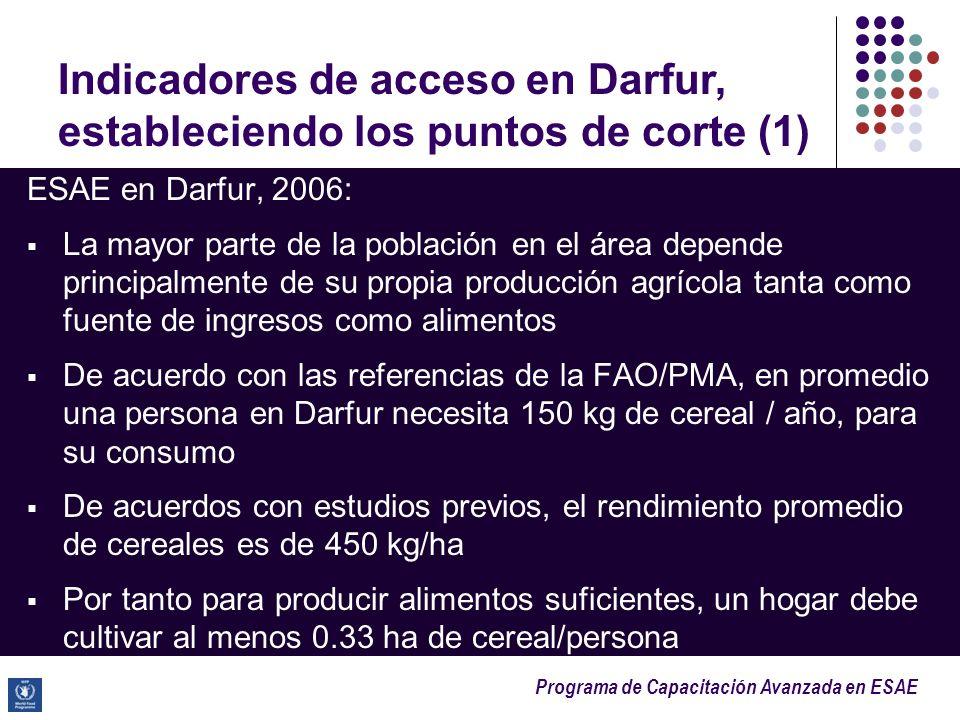 Programa de Capacitación Avanzada en ESAE ESAE en Darfur, 2006: La mayor parte de la población en el área depende principalmente de su propia producci