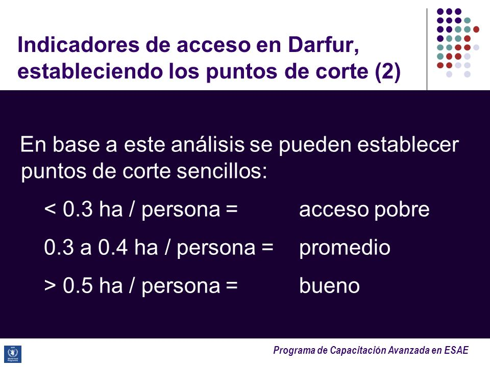 Programa de Capacitación Avanzada en ESAE Indicadores de acceso en Darfur, estableciendo los puntos de corte (2) En base a este análisis se pueden est