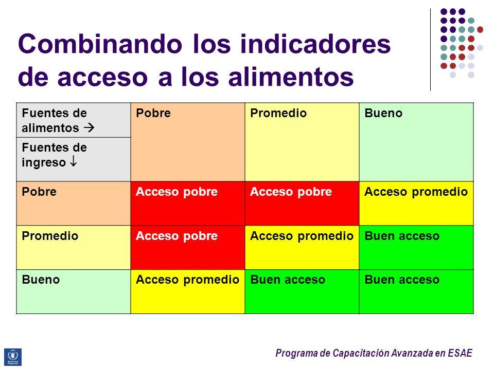 Programa de Capacitación Avanzada en ESAE Combinando los indicadores de acceso a los alimentos Fuentes de alimentos PobrePromedioBueno Fuentes de ingr