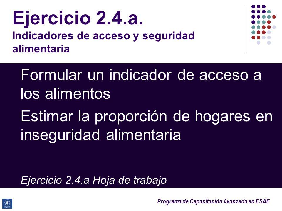 Programa de Capacitación Avanzada en ESAE Ejercicio 2.4.a. Indicadores de acceso y seguridad alimentaria Formular un indicador de acceso a los aliment