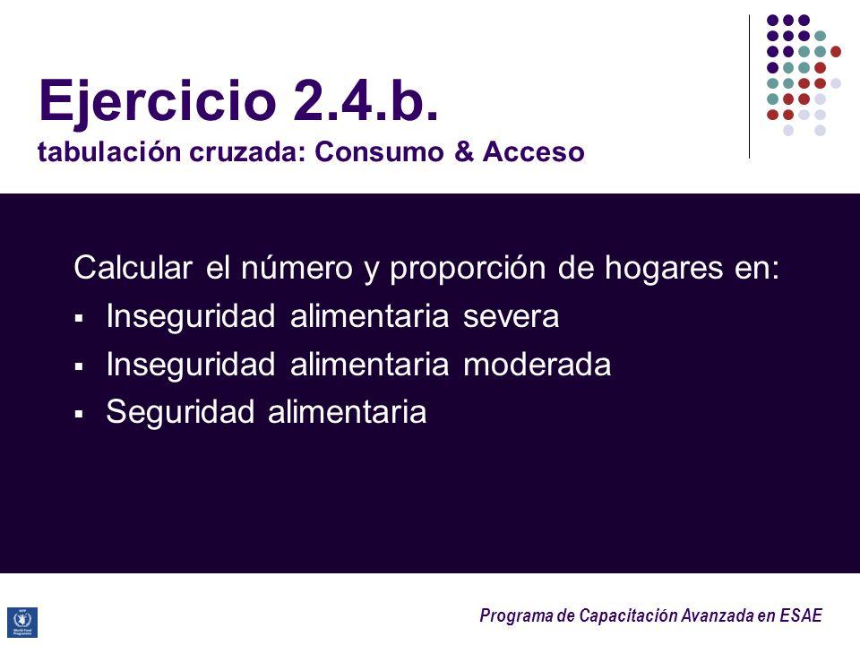 Programa de Capacitación Avanzada en ESAE Ejercicio 2.4.b. tabulación cruzada: Consumo & Acceso Calcular el número y proporción de hogares en: Insegur