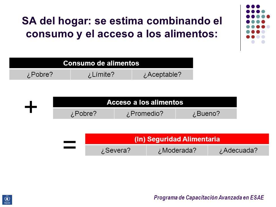 Programa de Capacitación Avanzada en ESAE SA del hogar: se estima combinando el consumo y el acceso a los alimentos: = Consumo de alimentos ¿Pobre?¿Lí