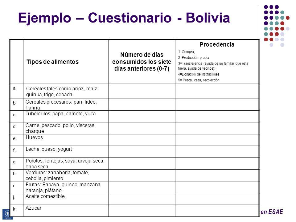 Programa de Capacitación Avanzada en ESAE Ejemplo – Cuestionario - Bolivia Tipos de alimentos Número de días consumidos los siete días anteriores (0-7
