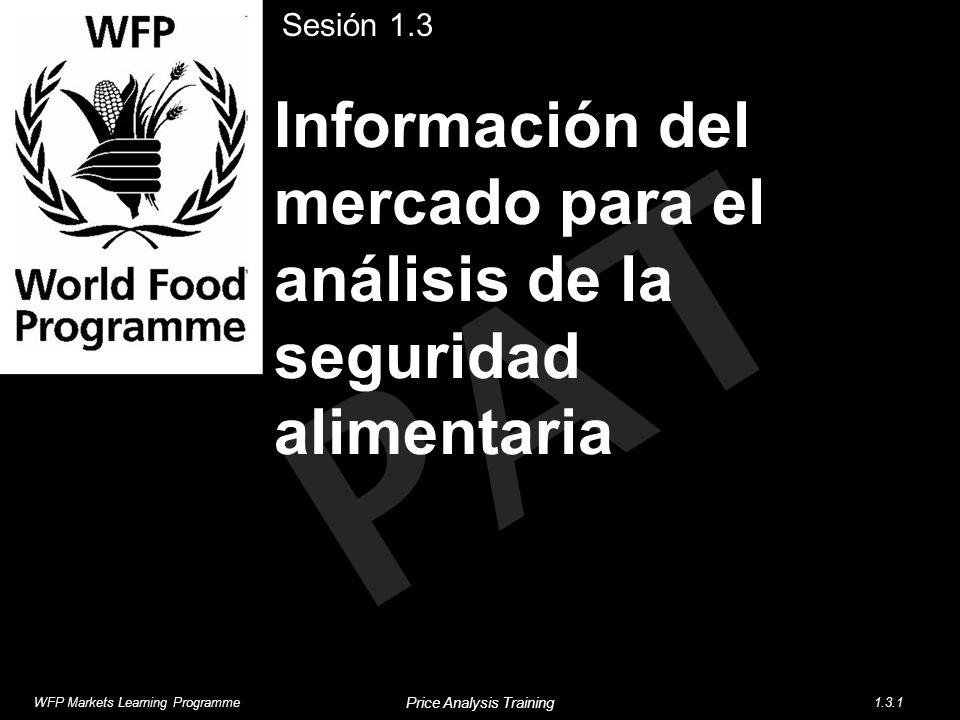PAT Información del mercado para el análisis de la seguridad alimentaria Sesión 1.3 WFP Markets Learning Programme1.3.1 Price Analysis Training