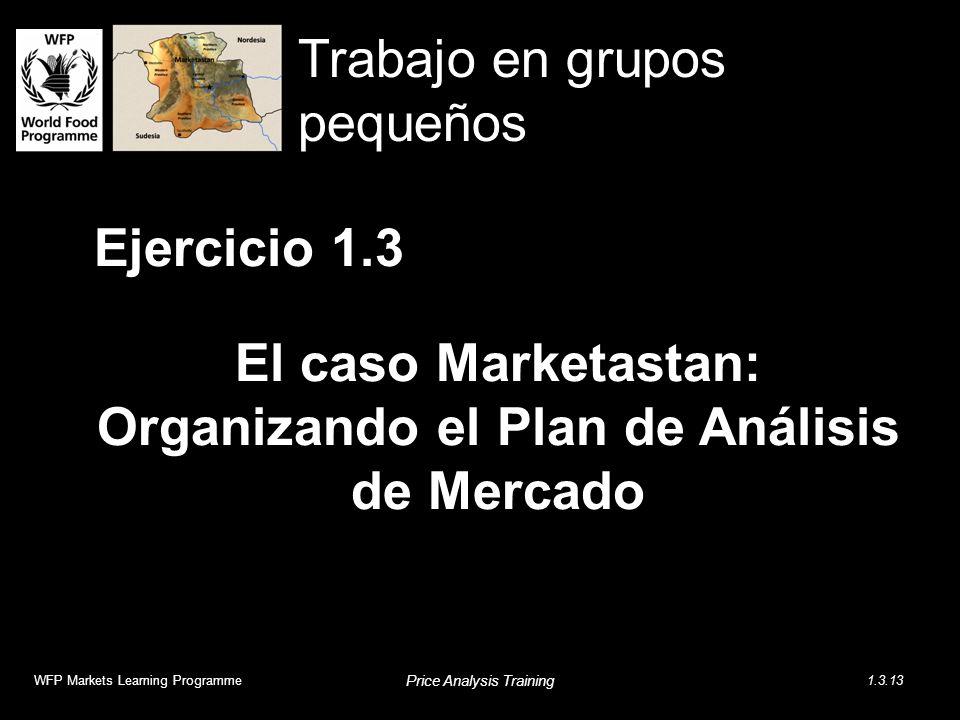 Ejercicio 1.3 El caso Marketastan: Organizando el Plan de Análisis de Mercado WFP Markets Learning Programme Price Analysis Training 1.3.13 Trabajo en